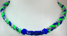"NEW 20"" Custom Clasp Braided Sports Neon Green Royal Blue Gray Tornado Necklace"