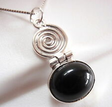 Black Onyx 925 Sterling Silver Oval Necklace with Spiral Accent New