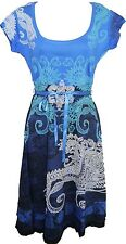 Beautiful Desigual Liz REP Short Sleeved Scoop Neck Blue Dress Size L