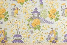 P Kaufmann Summer Palace Mineral Asian Toile Fabric Purple Yellow BY THE YARD