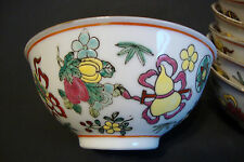 Old Chinese Porcelain Soup Bowl - Enamel Hand Painted Multicolor 10 available