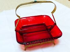 Vintage Red Glass Serving Tray