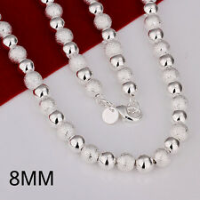 925 Sterling Silver Filled 8MM Dull Polished Solid Ball Beads Charm Necklace 20""