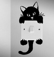 Removable Black Cute Cat Switch Wall Stickers Vinyl Decals Door Home Room Decor