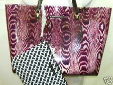 NWT Diane von Furstenberg Sutra Ready To Go Moire PVC Large Tote Bag Jazzberry