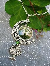 Tree of Life Sacred Oak Necklace Pagan Wicca Moon Fantasy Silver Pendant Celtic