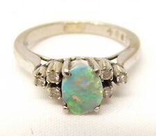 Vtg 18K White Gold Fire Opal Diamond Ring Sz 5.5 Estate Cocktail .18 TCW Carat