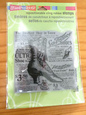 "New - Cling Rubber Stamp - Button Shoe - Vintage Background - 9""  Square"