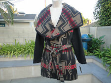 PENDLETON Harding Jacquard Wool Blend Wrap COAT Shawl Collar/Belt Womens XLarge