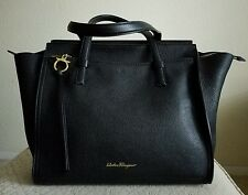 Salvatore ferragamo Black Pebbled Leather Amy Tote Handbag $1250 INSTORES NOW !