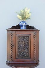 Antique Carved Oak Corner cabinet.