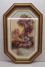 Home Interior Oval Picture Horses and Boy Gold Color Resin Frame Glass Front