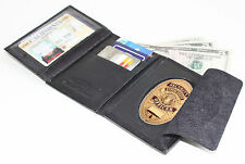 Black Leather Concealed Fire Security Oval Badge Wallet ID Credit Card Holder