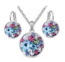 18K White Gold Plated Multi-Color Crystal Earrings Pendant Necklace Jewelry Set