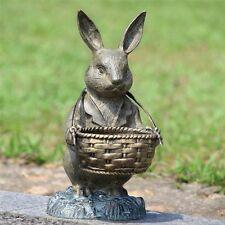 Bunny Rabbit Basket Planter Garden Statue Butler Metal Sculpture Flower Pot