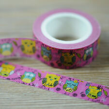 15mm x 10M Animal Owl Print Washi tape Pink