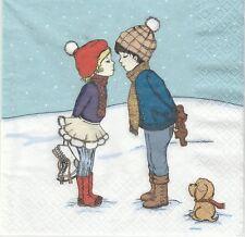 2 Serviettes en papier Noël Enfants hiver - Paper Napkins Child First date
