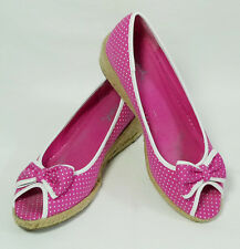 Vintage Qupid Polka Dot Pink Peep Toe Espadrilles Wedges Shoes