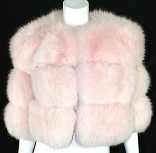 CELINE Fall 2003 Runway Powder Pink Saga Fox Fur Puffer Jacket 36
