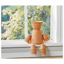 Terra Cotta Flower Pot Man/Woman - Gardener Gift Patio Decor Window Shelf Sitter