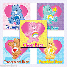 CARE BEARS Stickers x 5 - Party Supplies, Rewards, Favours, Gifts, Birthday