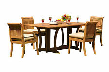 """5 PC TEAK DINING SET GARDEN OUTDOOR PATIO: 69"""" CONSOLE TABLE + 4 GIVA CHAIRS"""