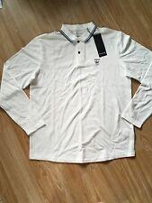 Firetrap New Mens Long Sleeved Polo Shirt White Large RRP £40 **FREE POSTAGE**