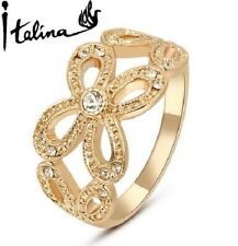 18K ROSE GOLD PLATED AUSTRIAN CRYSTAL BUTTERFLY RING. SIZE M, N