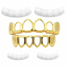Gold Plated Hip Hop Hollow Top Bottom HIGH QUALITY Teeth Grillz Extra Moldings