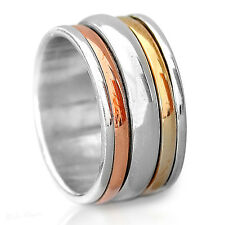 Solid 925 Sterling Silver Spinner Ring Golden Spinning Wide Band Boho Size 6