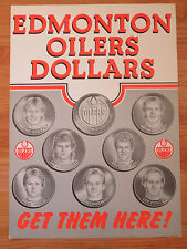 1983 EDMONTON OILERS DOLLAR Advertising Poster GRETZKY MESSIER MOOG LINSEMAN