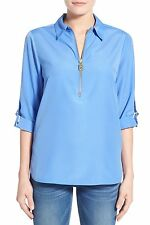 Michael Kors Women's Crepe Half Zip Point Collar Blouse - Size M - $89.50 - C97