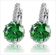 Ladies White Gold Plated Elegant JADE GREEN Crystal Hoop Earrings Jewelry UK