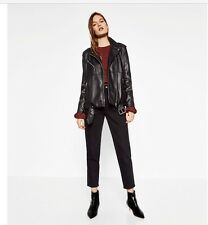 ZARA BLACK OVERSIZED FAUX LEATHER BIKER JACKET BNWT SIZE S