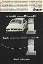 Publicité Automobile Simca 1100  Pompe à essence car photo vintage ad  1968 - 8h
