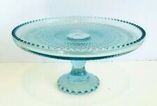 Harp by Jeannette Ice Blue Pedestal Cake Plate Gorgeous Exc. Used Condition