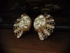 Vintage Large Baroque Pearl Black & Clear Crystal Fan Shape Clip-On Earrings