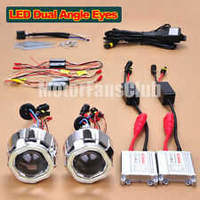 "2x 2.5"" Dual LED Angel Eye AC 35W HID BI-Xenon Projector Lens Headlight Kit #2"