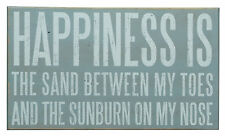 "WALL ART - ""HAPPINESS IS THE SAND BETWEEN MY TOES"" SIGN - DECORATIVE WOODEN SIGN"