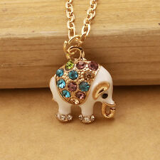 DL404 Gold-plated Mosaic crystal elephant chain Fashion charm long necklace