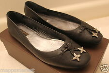 EUC Authentic LOUIS VUITTON Marguerite Flat Leather Ballerina in Black Sz 38