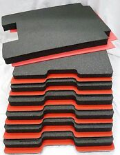 Pelican 1610 - 7 piece tool foam inserts - Black foam with red ABS Hard plastic