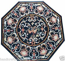 "30""x30"" Marble Center Coffee Table Top Inlay Mosaic Pietradure Marquetry Decor"
