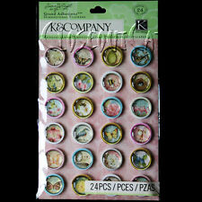 K&COMPANY STICKERS Susan Winget Floral Icon Rounds GR ADHESIONS Flowers Birds