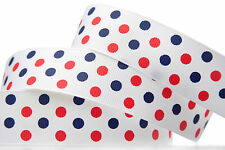 "5YD 1"" Navy Red Polka Dot Grosgrain Ribbon Hairbow bow"