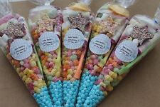 20 x Pre filled Kids blue Christening Sweet party cone Bags free postage
