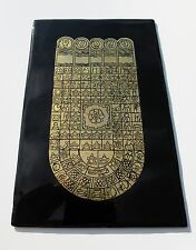 Burma - Buddha's Footprint 108 Auspicious Signs Black+Gold Lacquer Panel 4.5 x 7