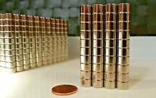 10 Large Neodymium Cylinder Disc Magnets. Super strong N52 Rare Earth 3/8 × 1/4""