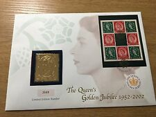 2002 Queen Elizabeth Golden Jubilee Silver Ingot Gold Plated Coin Cover