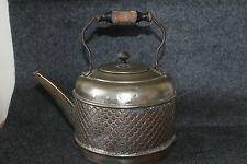 "VINTAGE NICKEL PLATED COPPER QUILT PATTERN TEA POT 9 3/4"" X 6 1/2"" X 10"" HANDLE"
